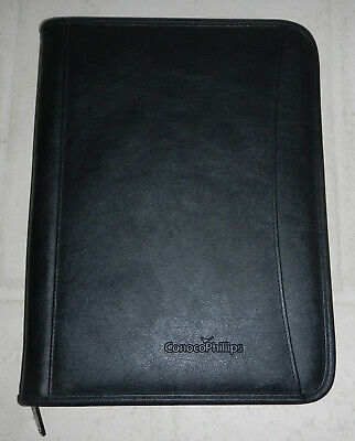 Conoco Phillips Energy Company Logo Leeds Leather Zippered Padfolio Notebook
