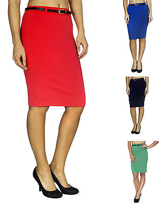 Belted Pencil Skirt - Womens Lady High Waisted Belted Pencil Skirt Stretch Bodycon Knee Length Shirt