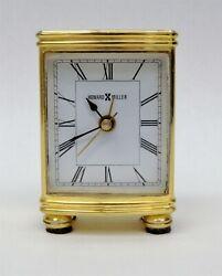 Howard Miller Miniature Brass Desk Alarm Clock Tested Works B6349
