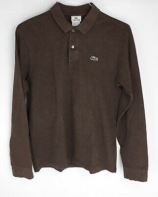 Lacoste Size 4 Men's Brown Polo Shirt Long Sleeve