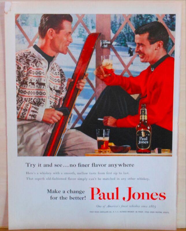 1956 magazine ad for Paul Jones Whiskey - Two skiers drink Paul Jones Whiskey