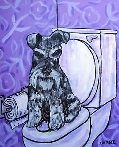 schnauzer-in-the-bathroom-animal-8x10-dog-art-print