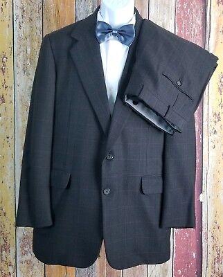X Men Suit (The Andover Shop Men's Wool Brown Check 2 Piece Suit 40 Regular)