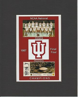 INDIANA HOOSIERS MATTED PIC OF 1987 NCAA BASKETBALL CHAMP TEAM/FINALS TICKET #2