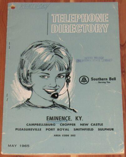 1965 KENTUCKY TELEPHONE DIRECTORY, EMINENCE, CAMPBELLSBURG, CROPPER, SULPHUR