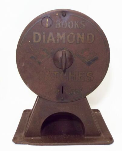 Old Early 1900s DIAMOND MATCHES 1 Cent Coin Op VENDING MACHINE DISPENSER -WORKS-