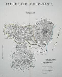 SICILIA-CATANIA-ETNA-CALTAGIRONE-NICOSIA-BELLA-ANTICA-CARTOGRAFIA-MARZOLLA-1830