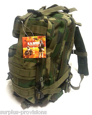 New US Spec Military Type Transport Backpack - Woodland Camo - Molle #RN255