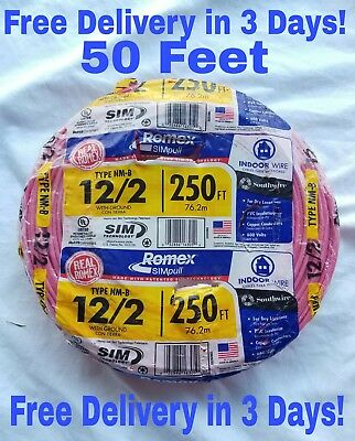 122 Wground Romex Indoor Electrical Wire 50 Feet All Lengths Available