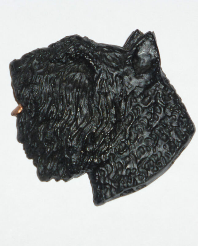 "Bouvier des Flandres Oversized 2 1/4""x 2"" Hand-Molded & Hand Painted Pin. U.S.A."