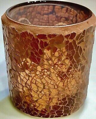 RARE Yankee Candle SHIMMERING PUMPKIN MOSAIC GLASS VOTIVE Candle Holder RETIRED