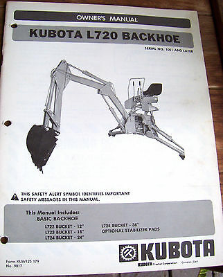 Kubota Owners Manual Model L720 Backhoe Serial No. 1001 Later   Lot 249