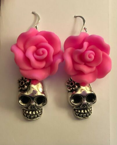 Day of the Dead Frida Kahlo Sugar Skull Pink Rose .925 Sterling Silver Earrings