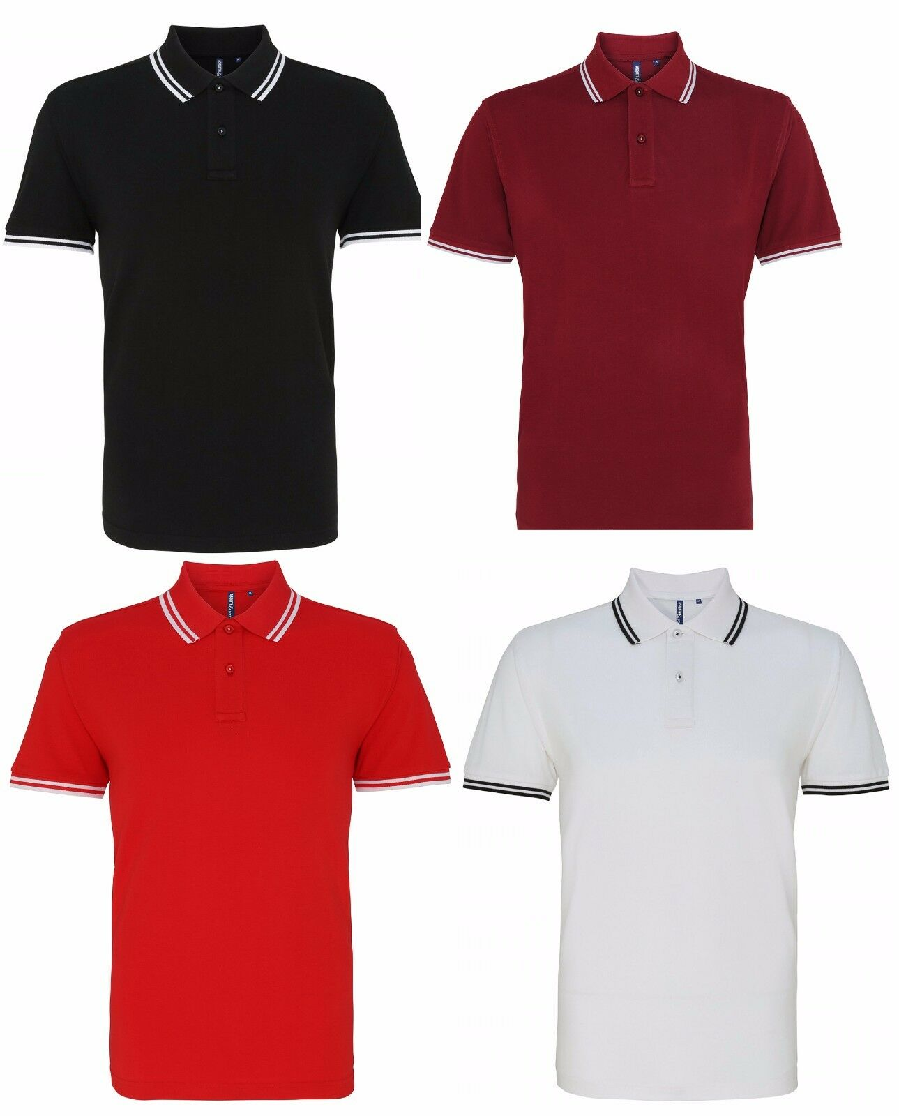Asquith & Fox Men's Classic Fit Short Sleeve Twin Tipped Top