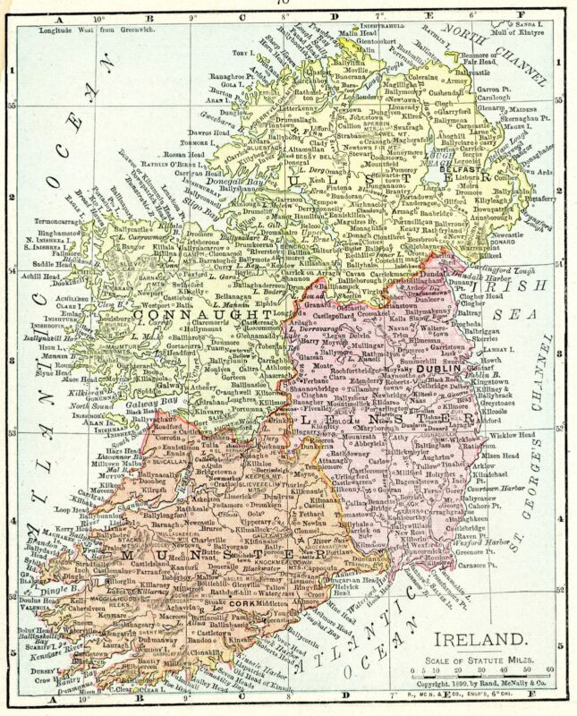 1899 Concise Atlas Vintage Map Pages - Ireland map one side and Scotland map ...