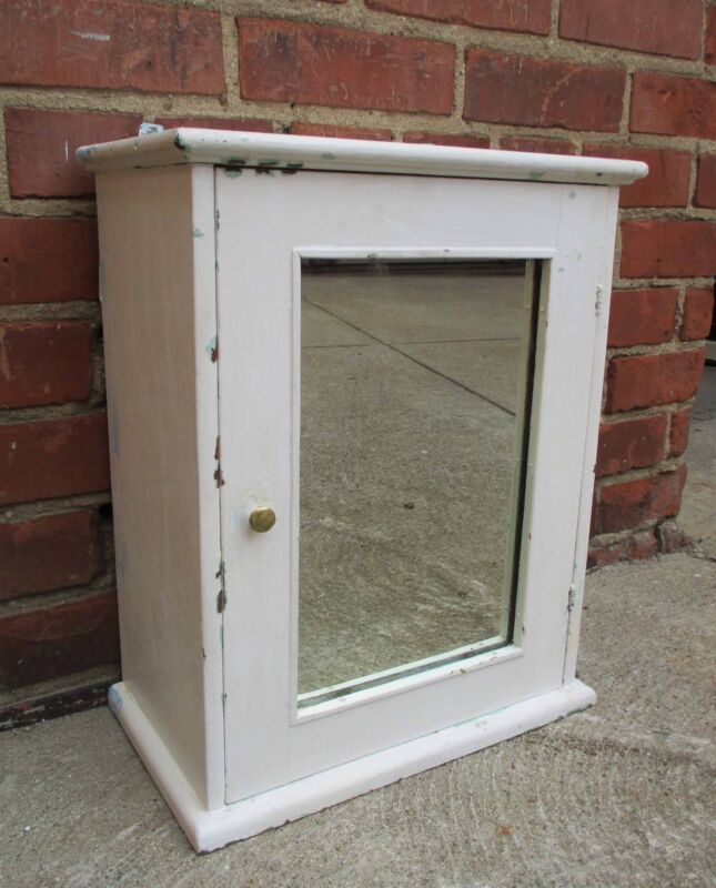 Vintage Wood Mirror Medicine Cabinet-Surface Mount - White, Shabby Chic Cottage