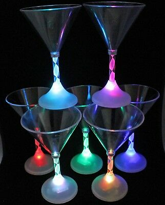 1 LIGHT UP LED FLASHING MARTINI GLASSES BARWARE EACH GLASS CAPABLE OF 7 COLORS - Martini Glasses