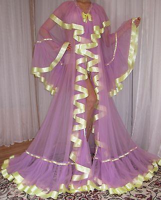 Vtg Nylon Chiffon Satin Full Sweep Lingerie Slip Negligee Robe Nightgown 1X-4X