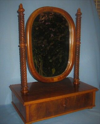 ANTIQUE BURR WALNUT VENEER TABLE TOP DRESSING MIRROR w/BARLEY TWIST COLUMNS