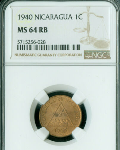 1940 NICARAGUA 1 CENTAVO NGC MAC MS-64 RB RARE IN THIS GRADE  *