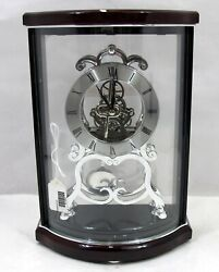 Bulova Wentworth Black & Mahogany Wood and Polished Chrome Mantle Clock B2025