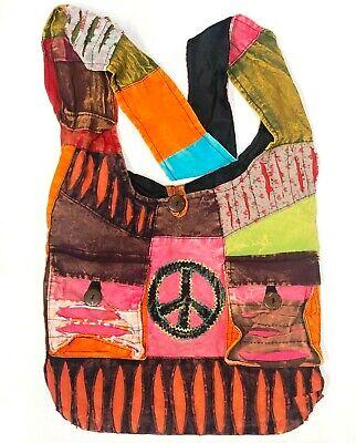New Purse Peace Sign Crossbody Hobo Large Handbag Pockets Hippie Handmade Nepal