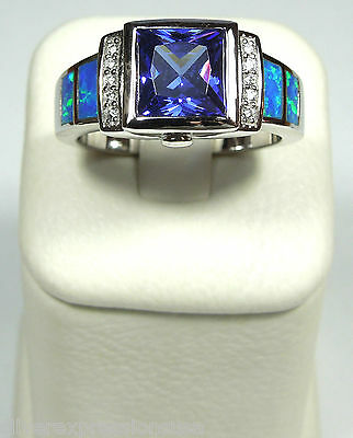 Tanzanite & Blue Fire Opal Inlay 925 Sterling Silver Men's Woman Ring size 6-12 Blue Opal Sterling Ring