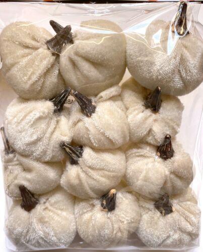 SET 12 IVORY VELVET PUMPKINS | White Tabletop Décor Farmhouse Vase Filler Small