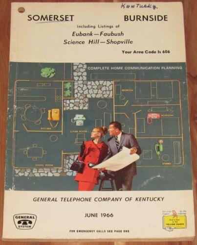 1966 KENTUCKY TELEPHONE DIRECTORY, SOMERSET, BURNSIDE, AREA CODE 606