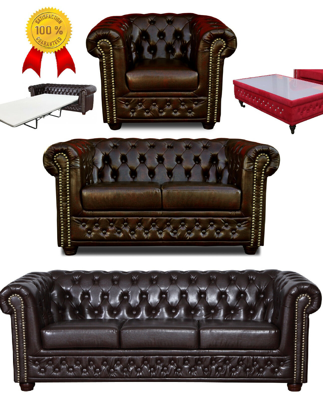 Chesterfield Sofa 3 + 2 Sitzer + Sessel + Hocker + Bett Dunkelbraun LederLook