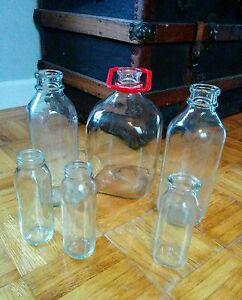 Vintage Glass Milk Bottles Baby Bottles Country Decor