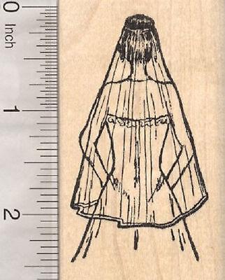Bride Rubber Stamp, Wedding Gown and Veil H28311 WM (Bride Rubber Stamp)