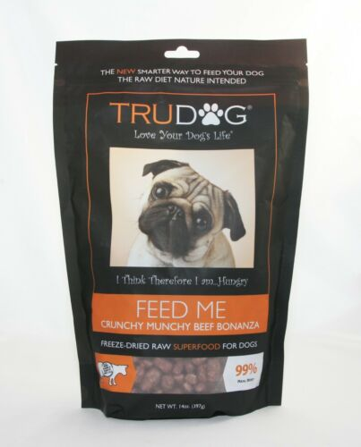 TruDog FEED ME Crunchy Munchy Beef Freeze-Dried Raw Superfood for Dogs 14 oz