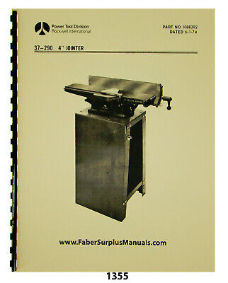 Rockwell 4 Jointer Model 37-290 Instruction Parts List Manual 1355