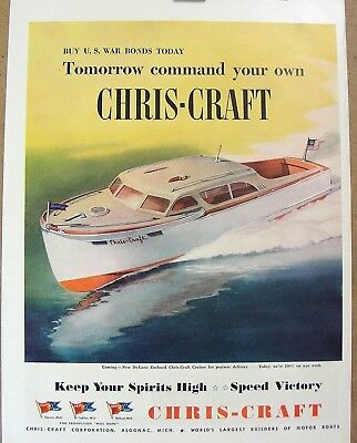 Chris-Craft Motor Boat Corporation WW2 War Bonds Speed Victory, used for sale  Torrance