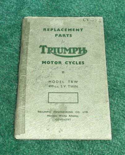 RARE ORIGINAL 1954 TRIUMPH MOTORCYCLE PARTS MANUAL TRW 500 MARK I?