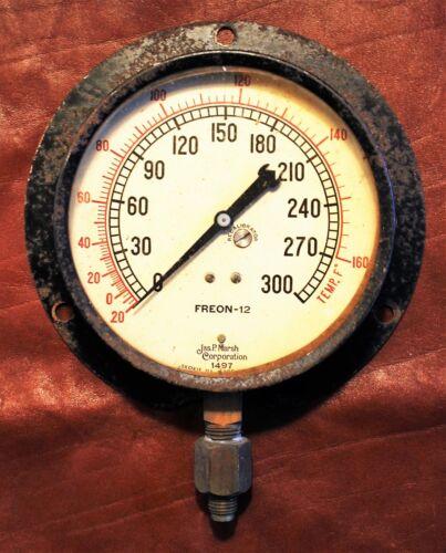 Large Rare Early James P. Marsh Steel Mounted FREON 12 Temperature Gauge c. 1930