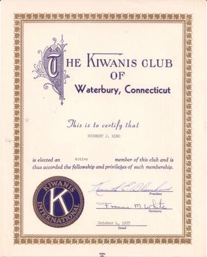 1957 Kiwanis Club of Waterbury Connecticut Herbert J. King Kenneth E. Blanchard