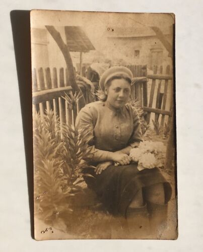 WW2 War Young Woman Flowers Vintage Military Photo USSR Russian 1945 in Hungary