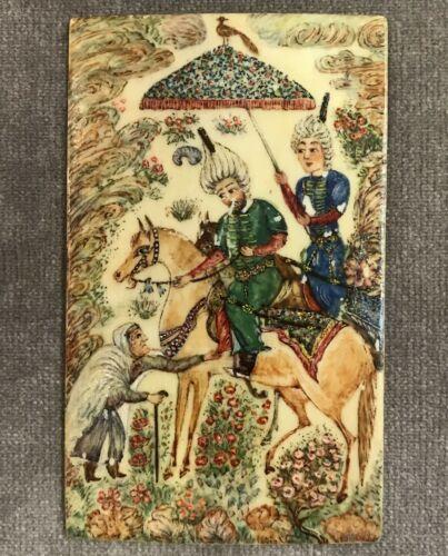 Antique Ottoman Miniature Painting on Camel Bone