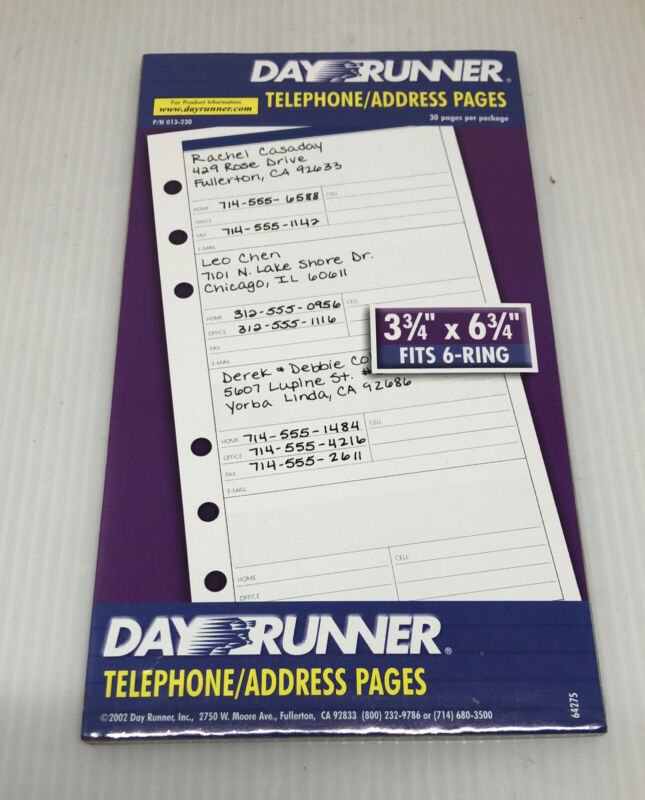 Day Runner #013-230 Telephone/Address Pages 3 3/4 x 6 3/4, 6 ring -30 pages