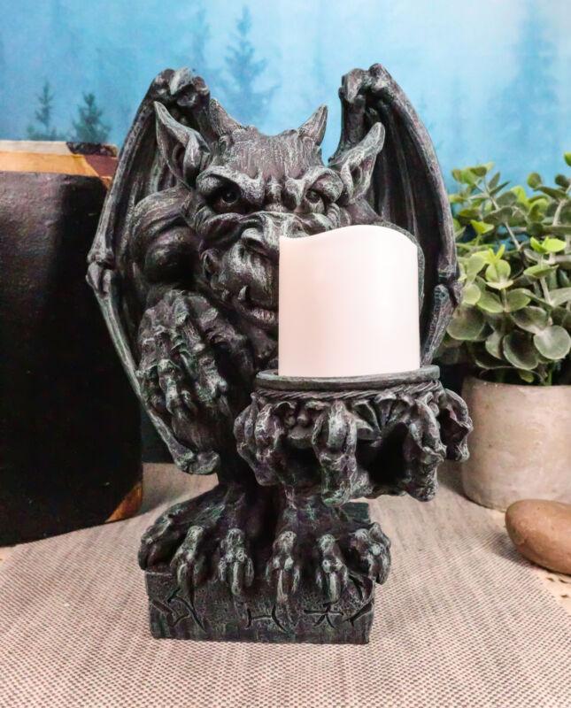 """Ebros Squatting Gothic Gargoyle Candle Holder Castle Butler Guardian 8.5""""H"""