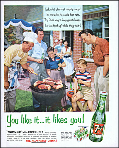 1954 Family backyard barbecue 7UP Cola you like it vintage photo print ad L60