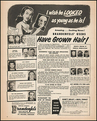 1951 Carl Brandenfels Hair Regrow System Quackery Solution vintage print ad LA7