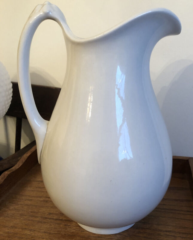 "Antique White WARRANTED Ironstone Large Pitcher 12.5"" High"
