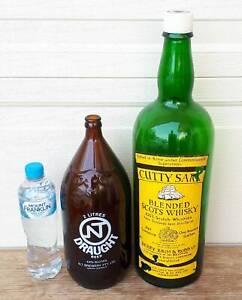 Vintage Large Cutty Sark 1 Gallon, Darwin Stubby Bottles