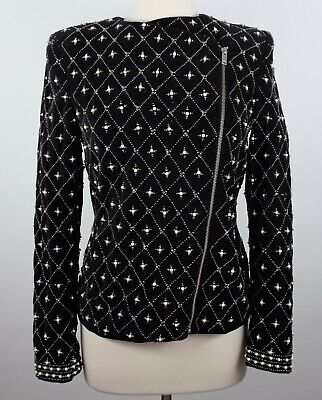 ZARA Woman sz M black velvet diamond pearl embellished jacket coat