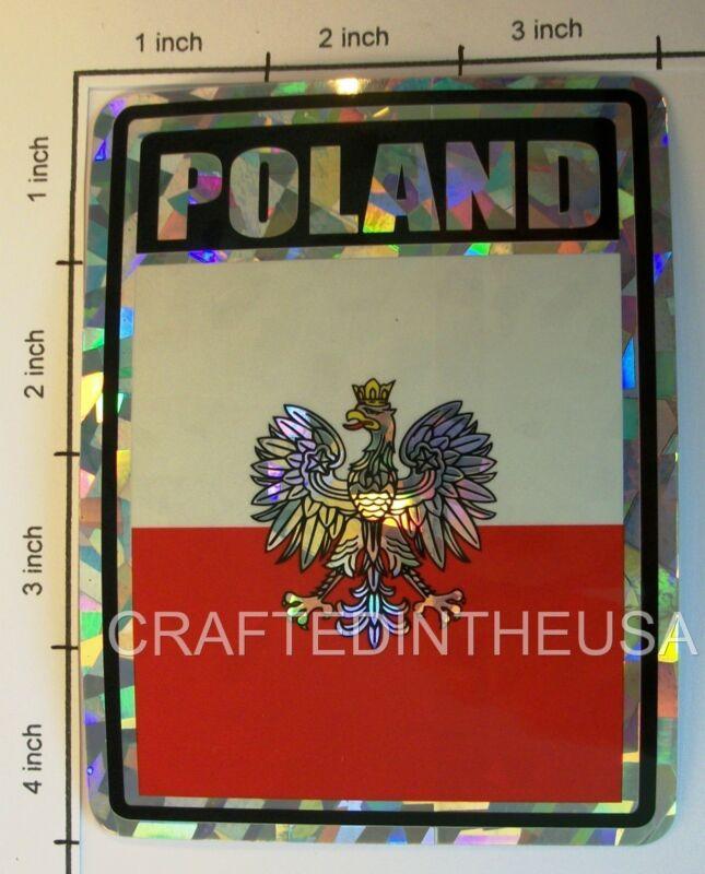 "Reflective Sticker Poland Eagle Crest Flag 3x4"" Inches Adhesive Car Bumper Decal"