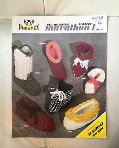 Phentex Knit & Crochet Slipper Patterns.   $1.00