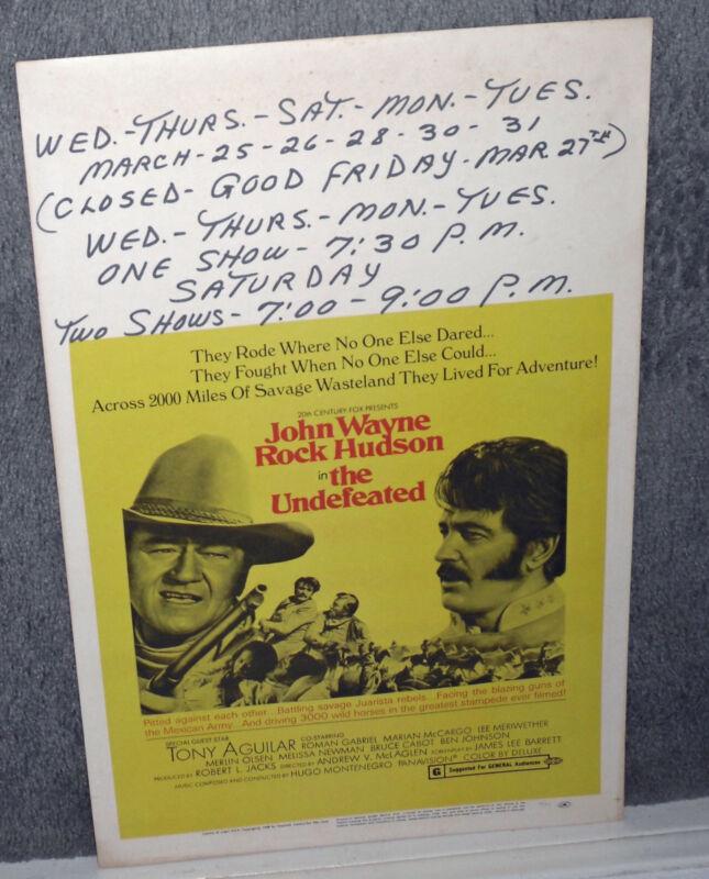 THE UNDEFEATED original 1969 ROLLED movie poster JOHN WAYNE/ROCK HUDSON